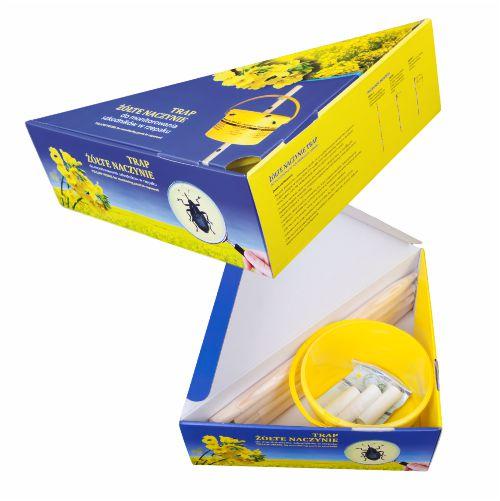 miarki.net - żółte naczynie pułapka trap rzepak z nadrukiem z logo branding